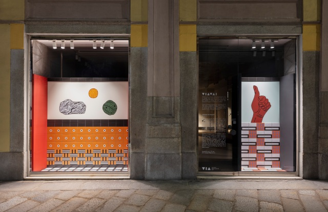 Artworks by Nathalie Du Pasquier on Milan's Via Spiga.