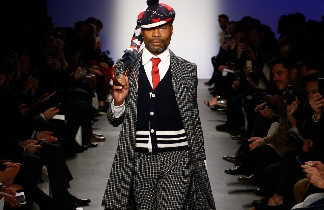 NEW YORK CITY, NY - FEBRUARY 07:  Billy Porter walks the runway during The 3rd Annual Blue Jacket Fashion Show Benefitting The Prostate Cancer Foundation at Pier 59 Studios on February 7, 2019 in New York City, NY.  (Photo by Brian Ach/Getty Images for Blue Jacket)