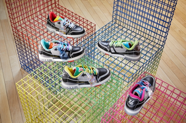 The LV Trainer Upcycling sneakers designed by Virgil Abloh.