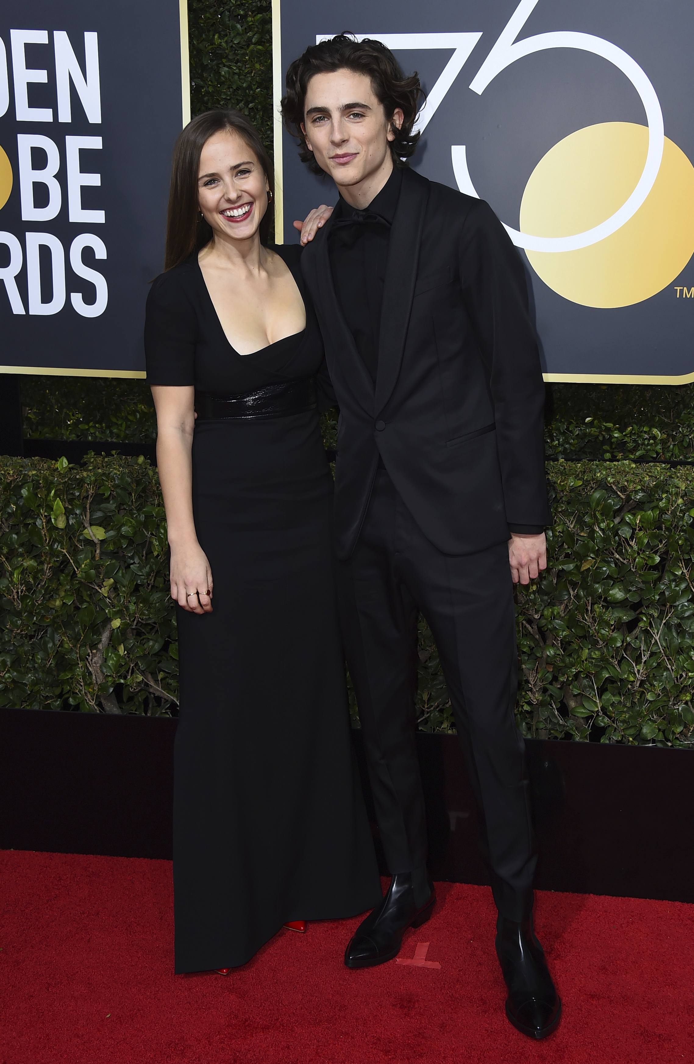 Pauline Chalamet, left, and Timothee Chalamet arrive at the 75th annual Golden Globe Awards at the Beverly Hilton Hotel on Sunday, Jan. 7, 2018, in Beverly Hills, Calif. (Photo by Jordan Strauss/Invision/AP)
