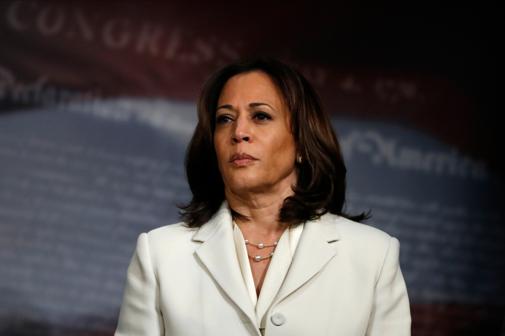 Sen. Kamala Harris attends a news conference talking about the impeachment trial of President Donald Trump.
