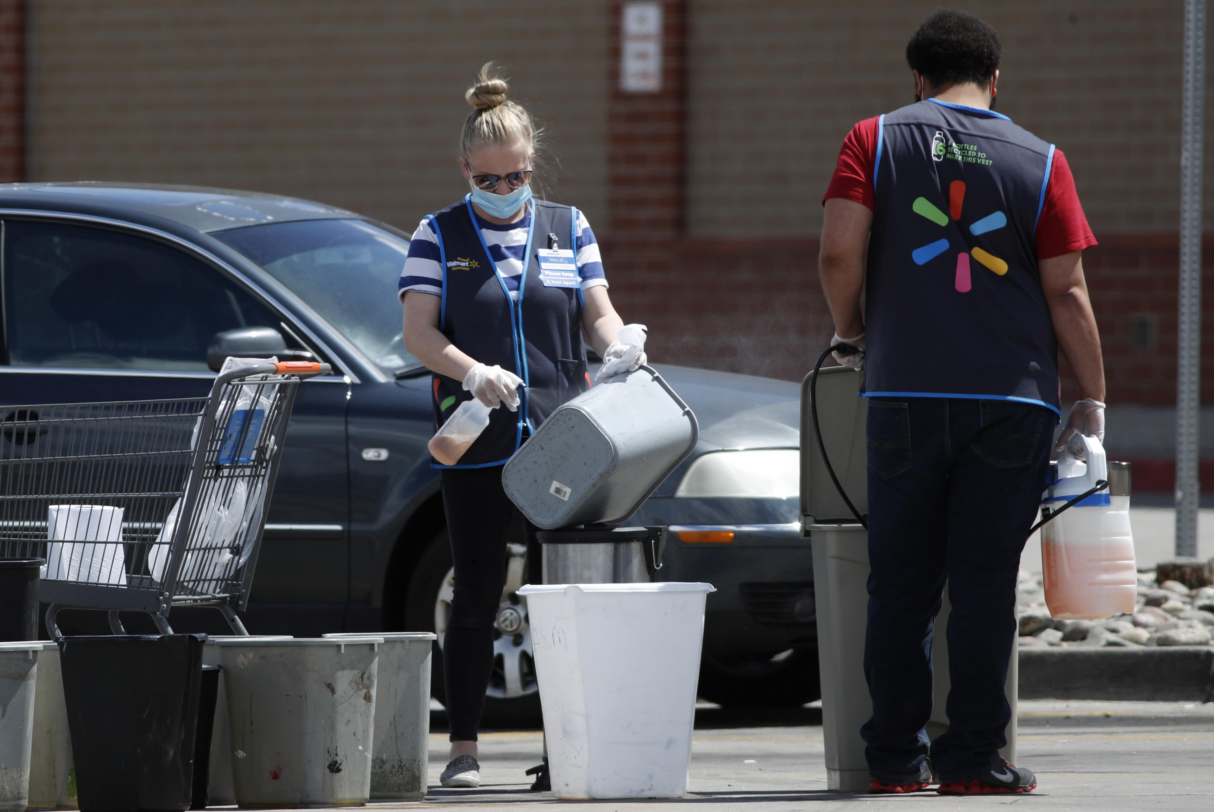 Walmart workers during the coronavirus pandemic