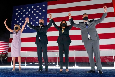 President-elect Joe Biden, and his wife Jill Biden, join Democratic vice presidential candidate Sen. Kamala Harris, D-Calif., and her husband Doug Emhoff, during the fourth day of the Democratic National Convention.