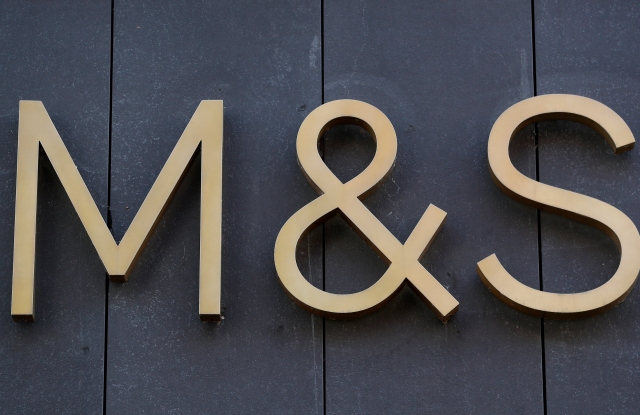 Worcester Stock. Marks and Spencers logo on the High Street, Worcester. URN:55514754 (Press Association via AP Images)