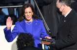 Kamala Harris is sworn in as vice president by Supreme Court Justice Sonia Sotomayor, wearing a necklace by Wilfredo Rosado.