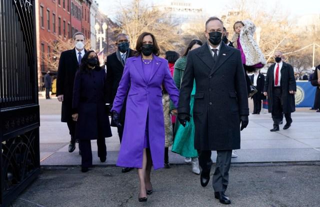 Vice President Kamala Harris, and her husband Doug Emhoff, and family, walk near the White House during a Presidential Escort to the White House.