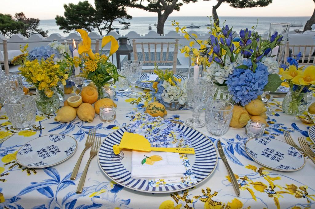 A table setting from an Aquazzura dinner in Capri