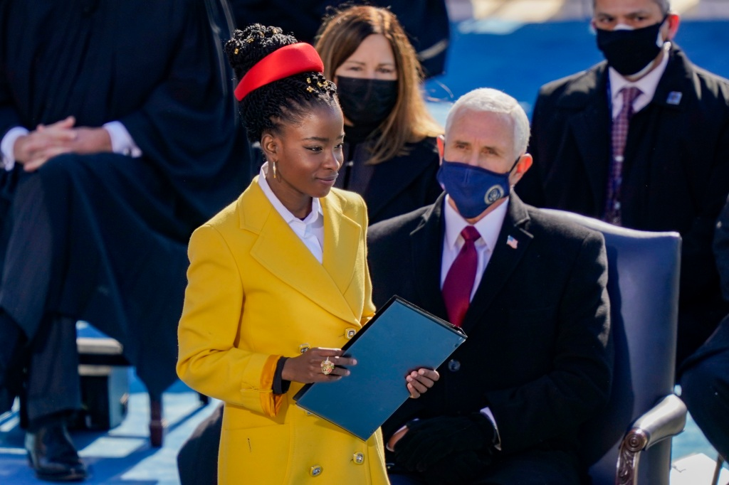 WASHINGTON, DC - JANUARY 20: Poet Laureate Amanda Gorman prepares to speak at the inauguration of U.S. President Joe Biden on the West Front of the U.S. Capitol on January 20, 2021 in Washington, DC.  During today's inauguration ceremony Joe Biden becomes the 46th president of the United States. (Photo by Drew Angerer/Getty Images)