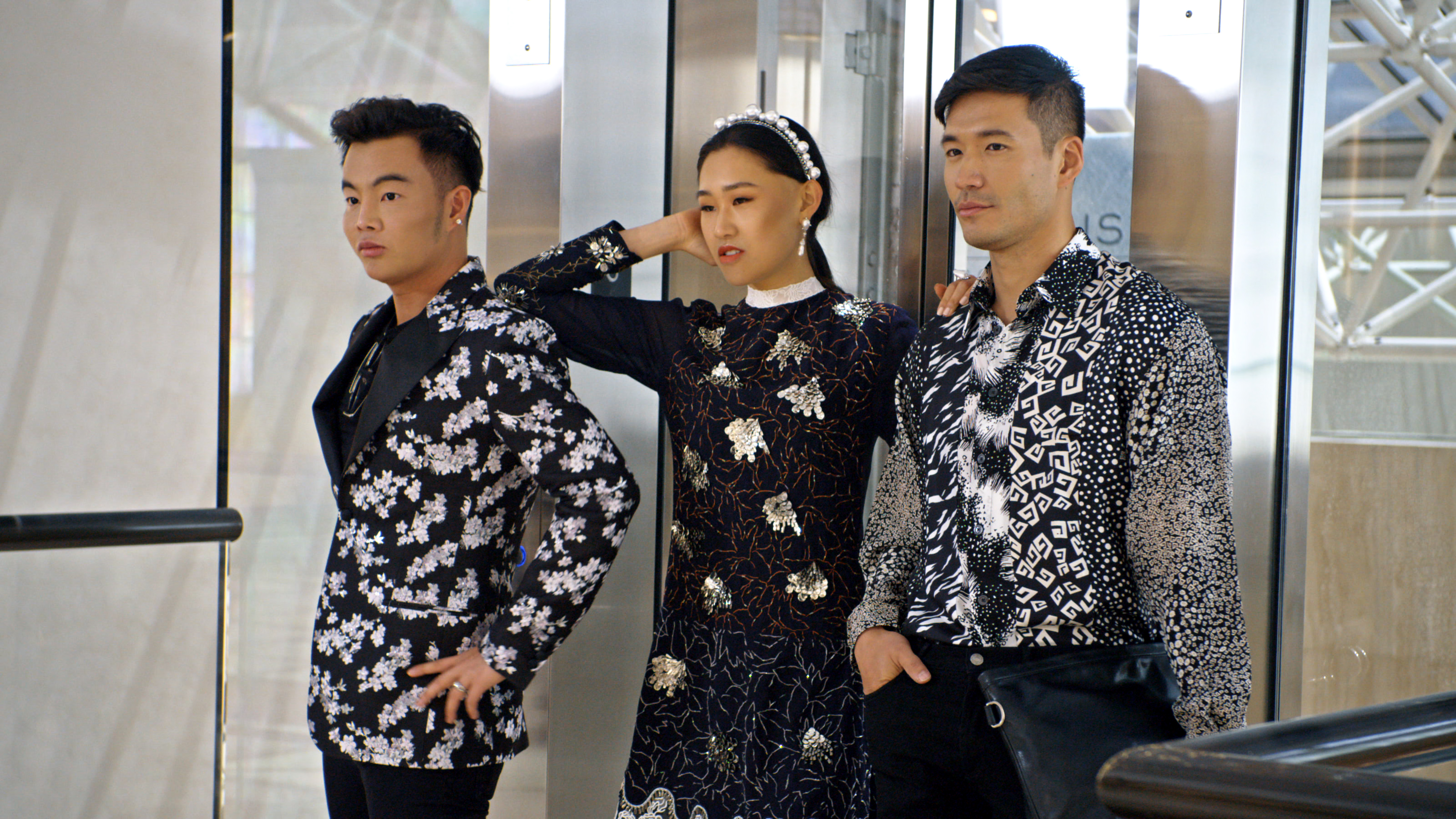"""(L-R) Kane Lim, Jaime Xie and Kevin Kreider in episode 8 """"Will You Marry Me?"""" of Bling Empire: Season 1. c. Courtesy of Netflix © 2021"""