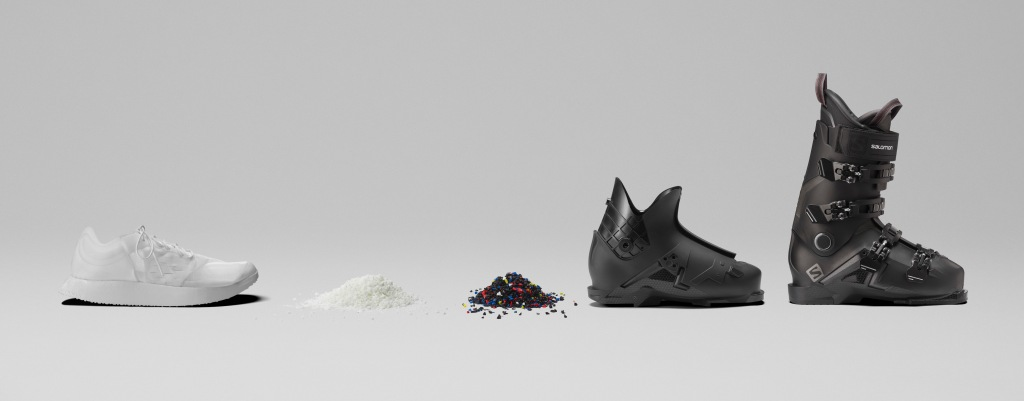 Salomon's shoe, named the Index.01, will become part of a ski boot at the end of its life.