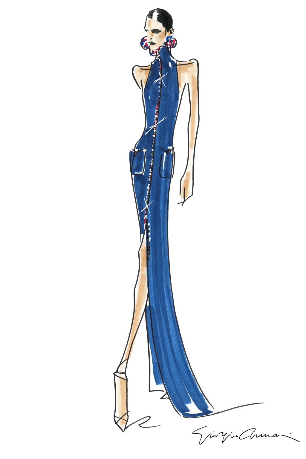 A sketch from Giorgio Armani Privé, Spring 21 - Haute Couture Collection.