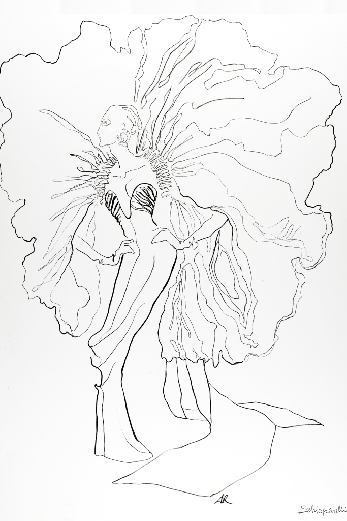 A sketch from Schiaparelli, Spring 21 - Haute Couture Collection.