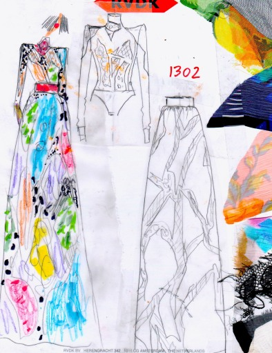 A sketch from RVDK Ronald Van Der Kemp, Spring 21 - Haute Couture Collection.