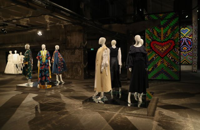 """BERLIN, GERMANY - JANUARY 17: Designs are on display during the """"Der Berliner Salon Group Presentation"""" at the Mercedes-Benz Fashion Week Berlin January 2021 at Kraftwerk Mitte on January 17, 2021 in Berlin, Germany. (Photo by Andreas Rentz/Getty Images for MBFW)"""