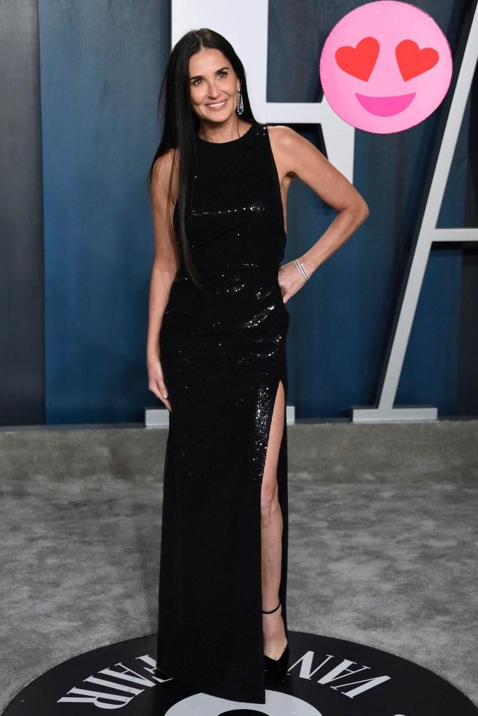Demi Moore arrives at the Vanity Fair Oscar Party, 2020.