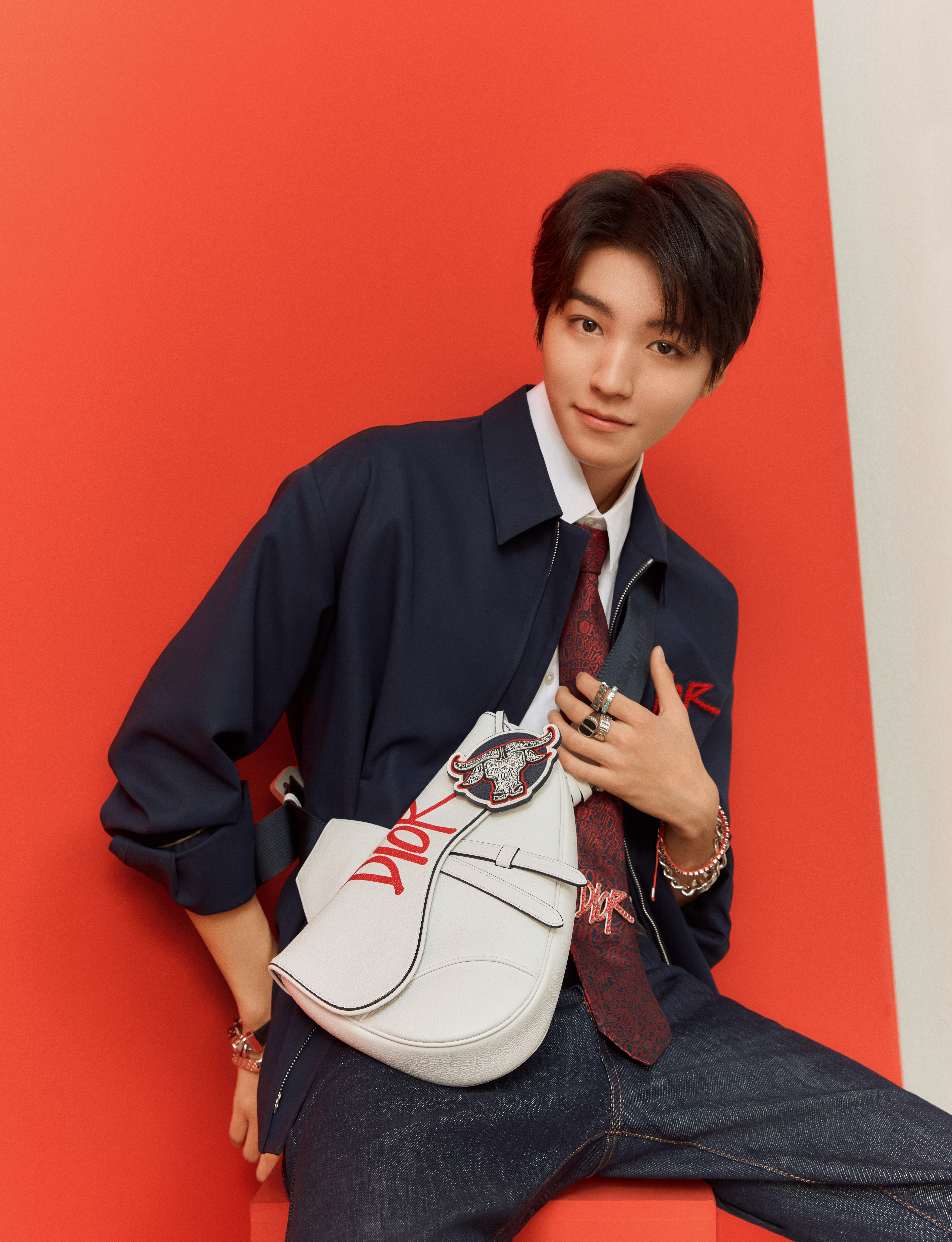 Dior China Ambassador Karry Wang wear items from Dior Men's Chinese New Year capsule collection.
