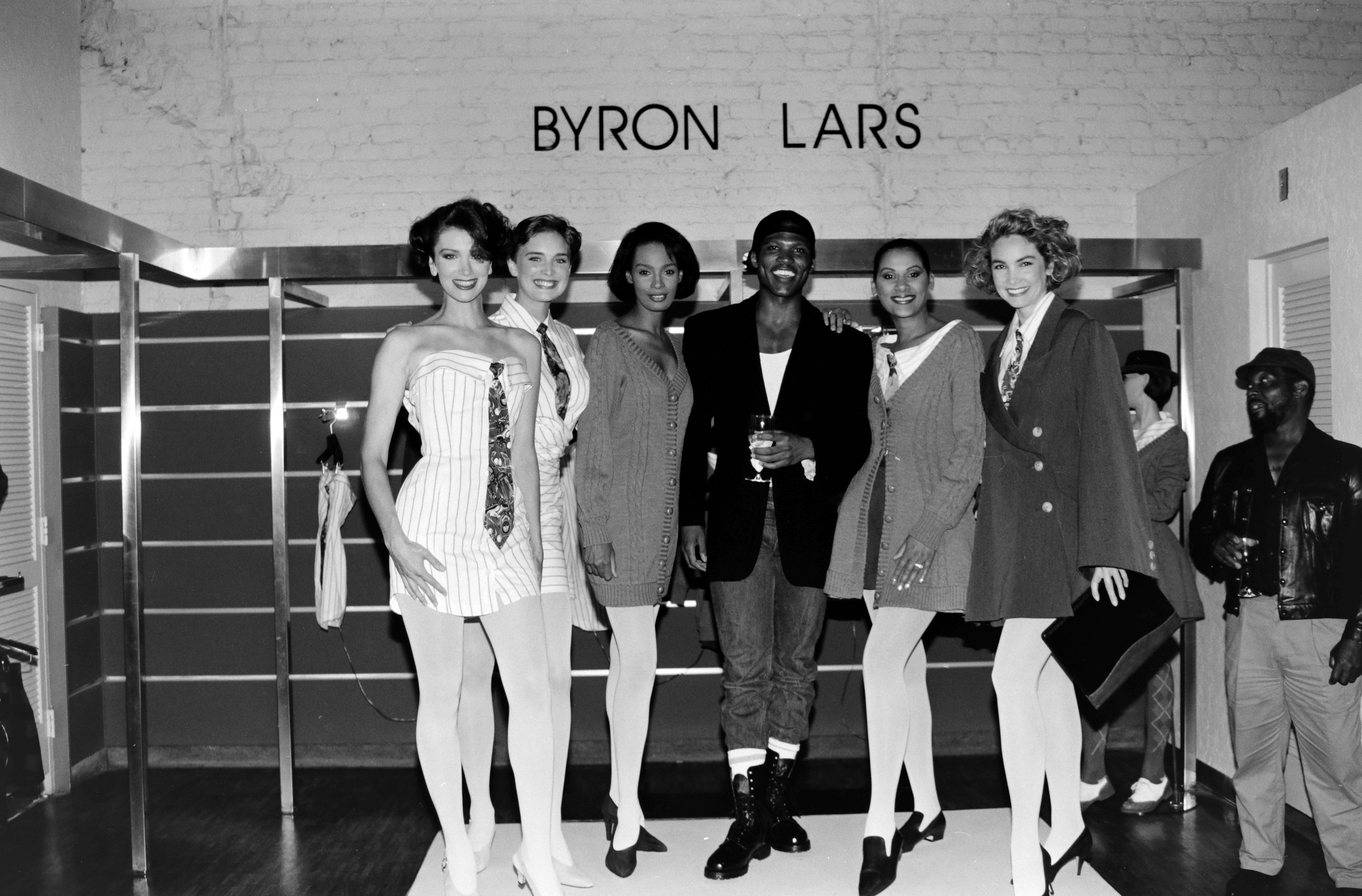 Designer Byron Lars and models in his spring 1992 collection at the debut of his Bloomingdale's in-store boutique on September 13, 1991.