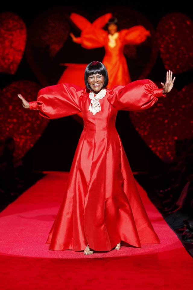 """Cicely Tyson wearing a B Michael dress on the runway at The Heart Truth's 2009 """"Red Dress Collection"""" show."""
