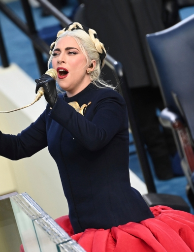 Lady Gaga sings the U.S. National Anthem.