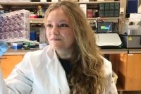 Frauke Muecksch, a Bulgari fellow at The Rockefeller University, in the lab.
