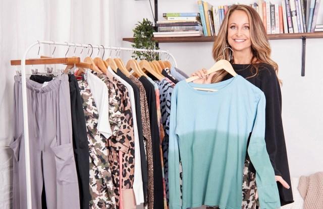 Marci Zaroff with clothing rack