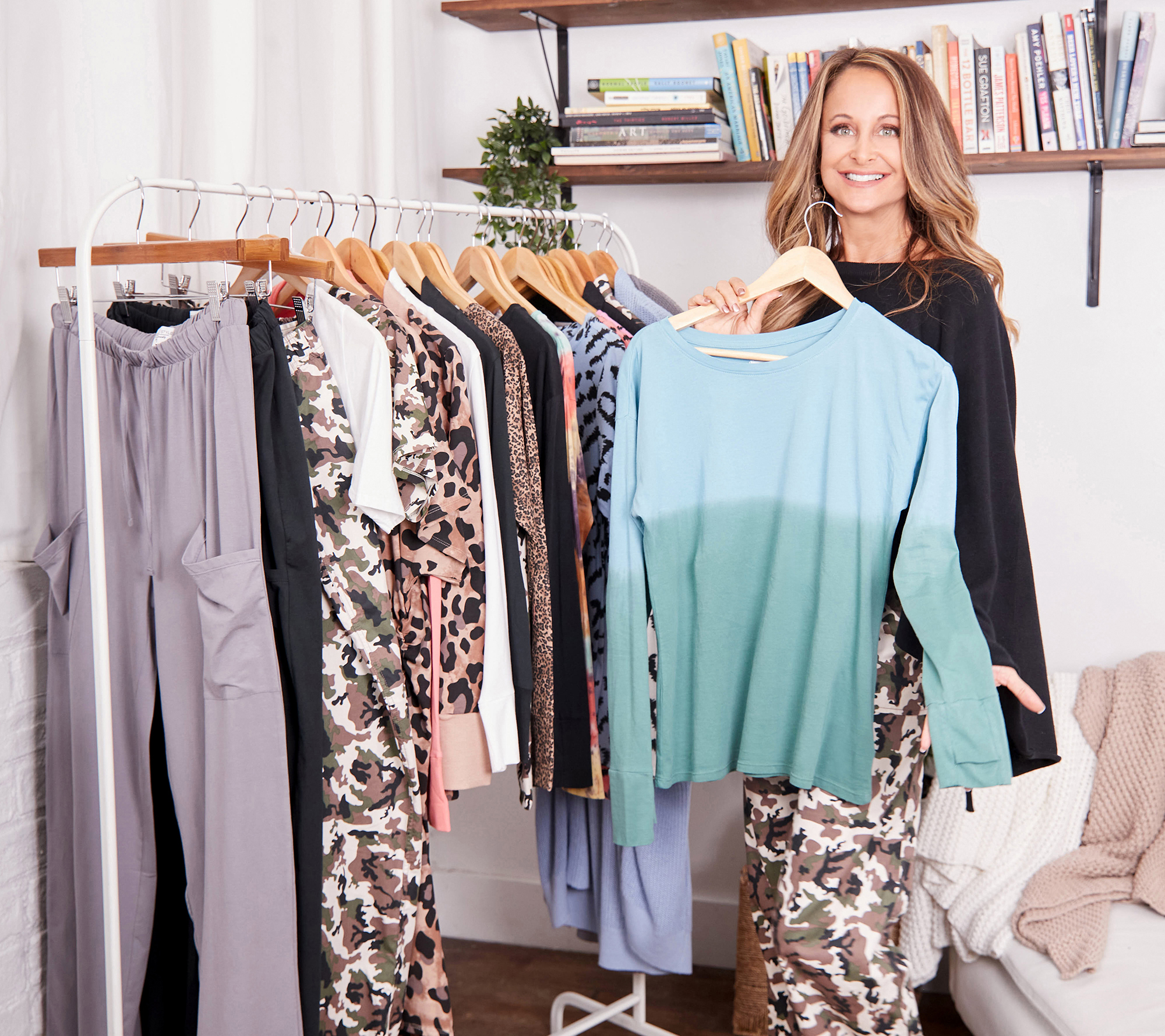 Marci Zaroff with clothing rack