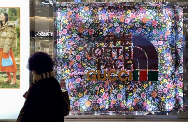 The North Face x Gucci advertisement in a Shanghai mall.