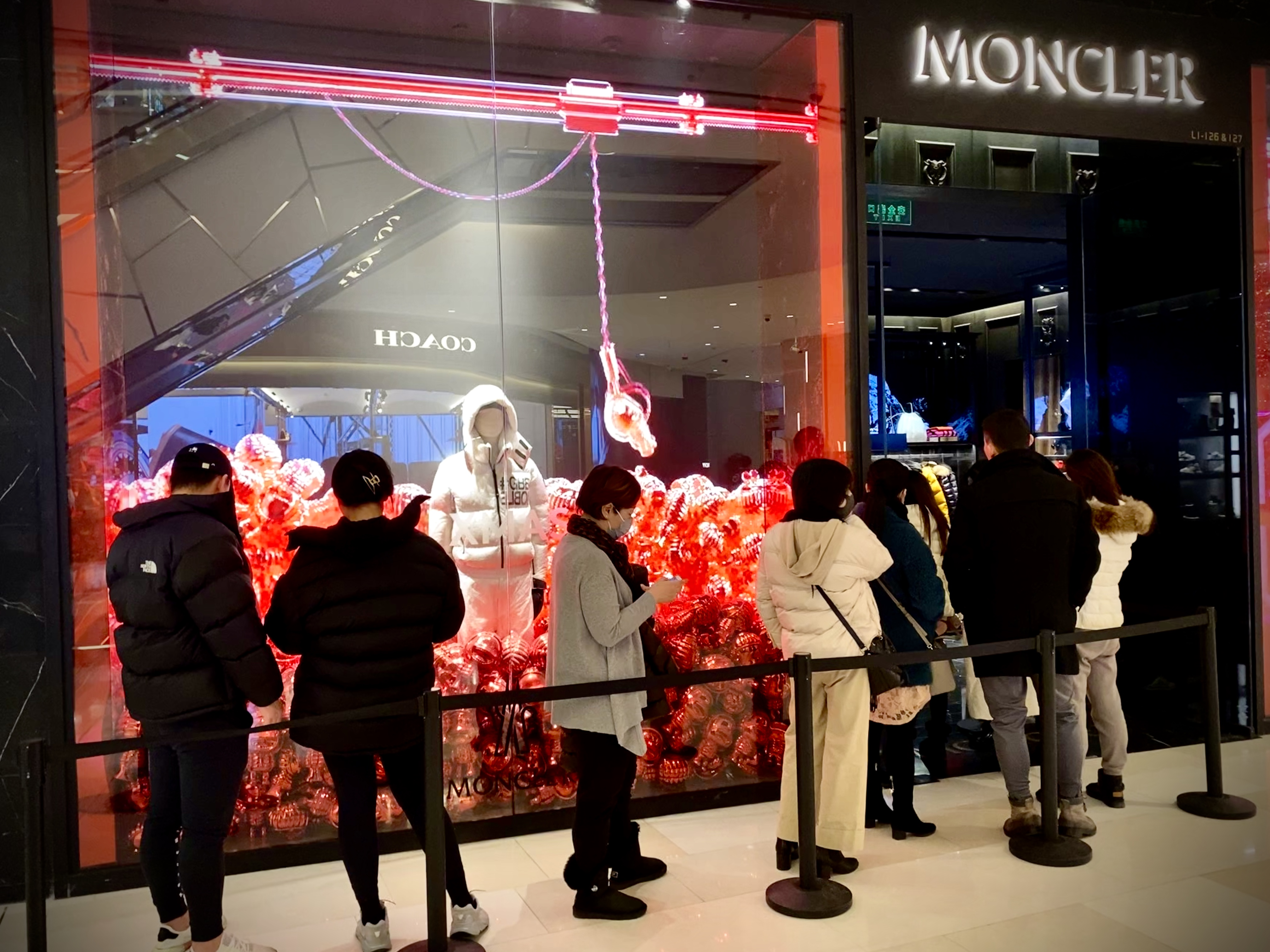 A line outside the Moncler store in Shanghai's iAPM mall.