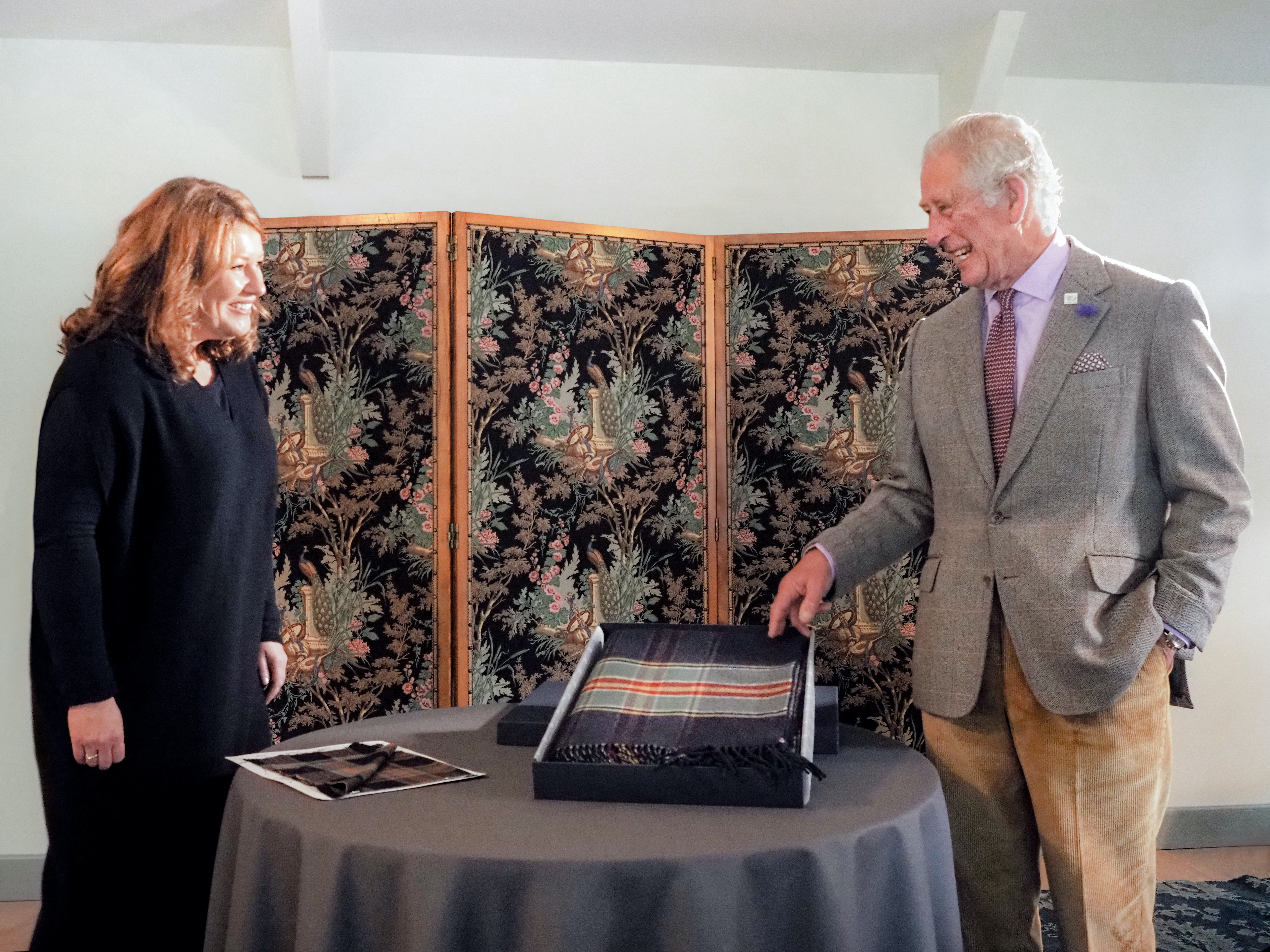 Jenny Urquhart, chairman at Johnstons of Elgin, and The Prince of Wales.
