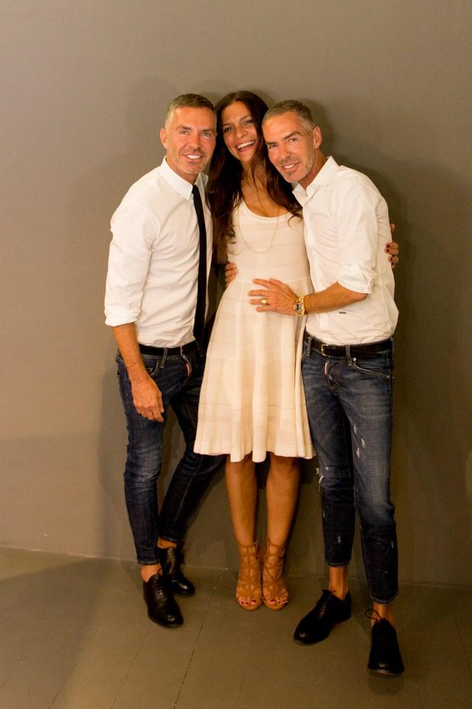 Giorgia Martone with Dean and Dan Caten of Dsquared2.