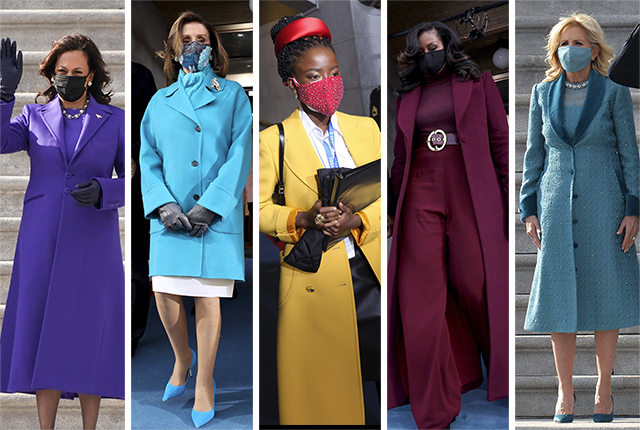 Left to right, Vice President Kamala Harris, House Speaker Nancy Pelosi, poet Amanda Gorman, former First Lady Michelle Obama and First Lady Jill Biden at the inauguration of President Joe Biden in Washington D.C. on Jan. 20, 2021..