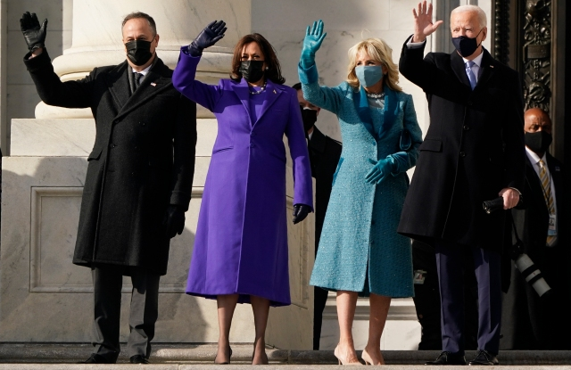 President-elect Joe Biden, his wife Jill Biden and Vice President-elect Kamala Harris and her husband Doug Emhoff arrive at the steps of the U.S. Capitol for the start of the official inauguration ceremonies, in Washington.