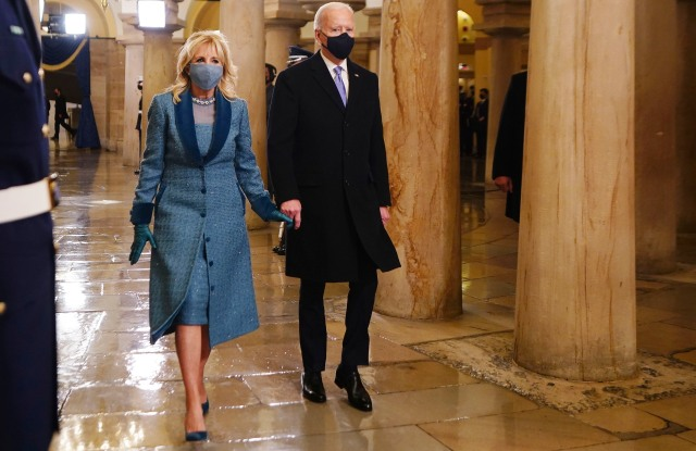 President-elect Joe Biden and Dr. Jill Biden arrive in the Crypt of the US Capitol for Biden's inauguration ceremony on Wednesday, Jan. 20, 2021 in Washington. (Jim Lo Scalzo (Jim Lo Scalzo/Pool Photo via AP)