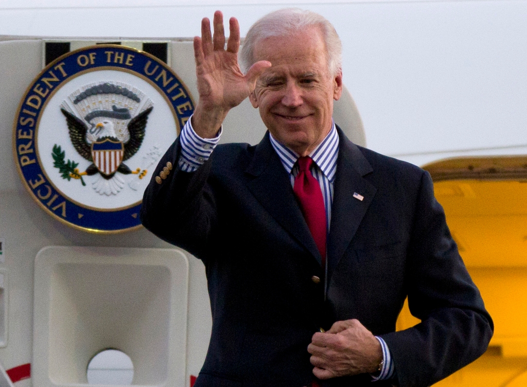 President-elect Joe Biden waves as he arrives to Benito Juarez International airport in Mexico City, 2012.