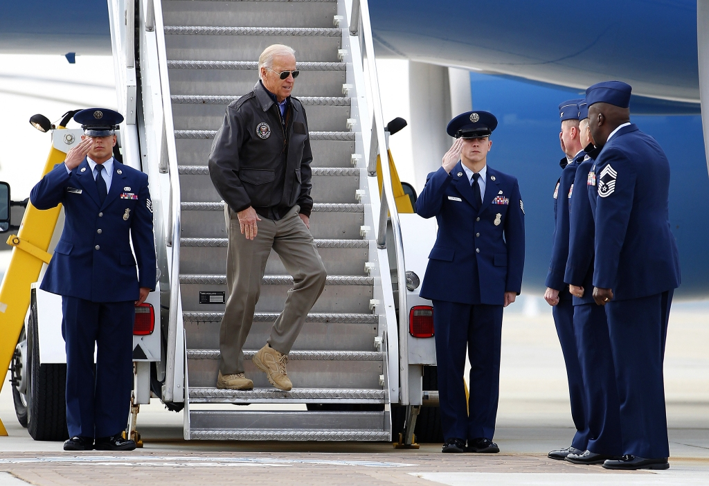President-elect Joe Biden steps out of Air Force Two, 2012.