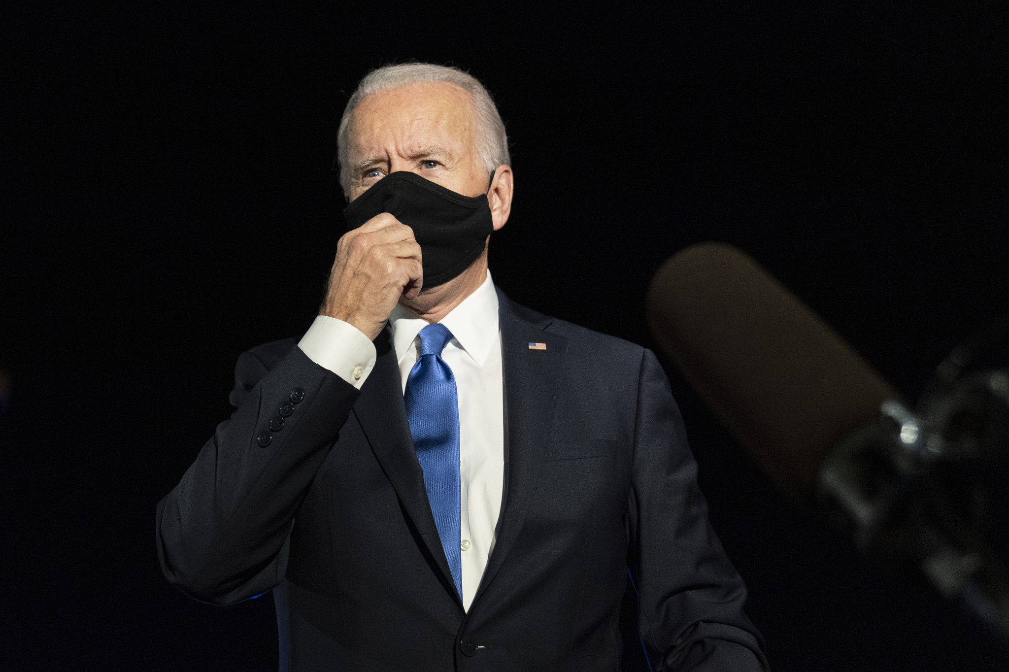 President-elect Joe Biden speaks to reporters before boarding his campaign plane at Nashville International Airport Thursday, 2020.