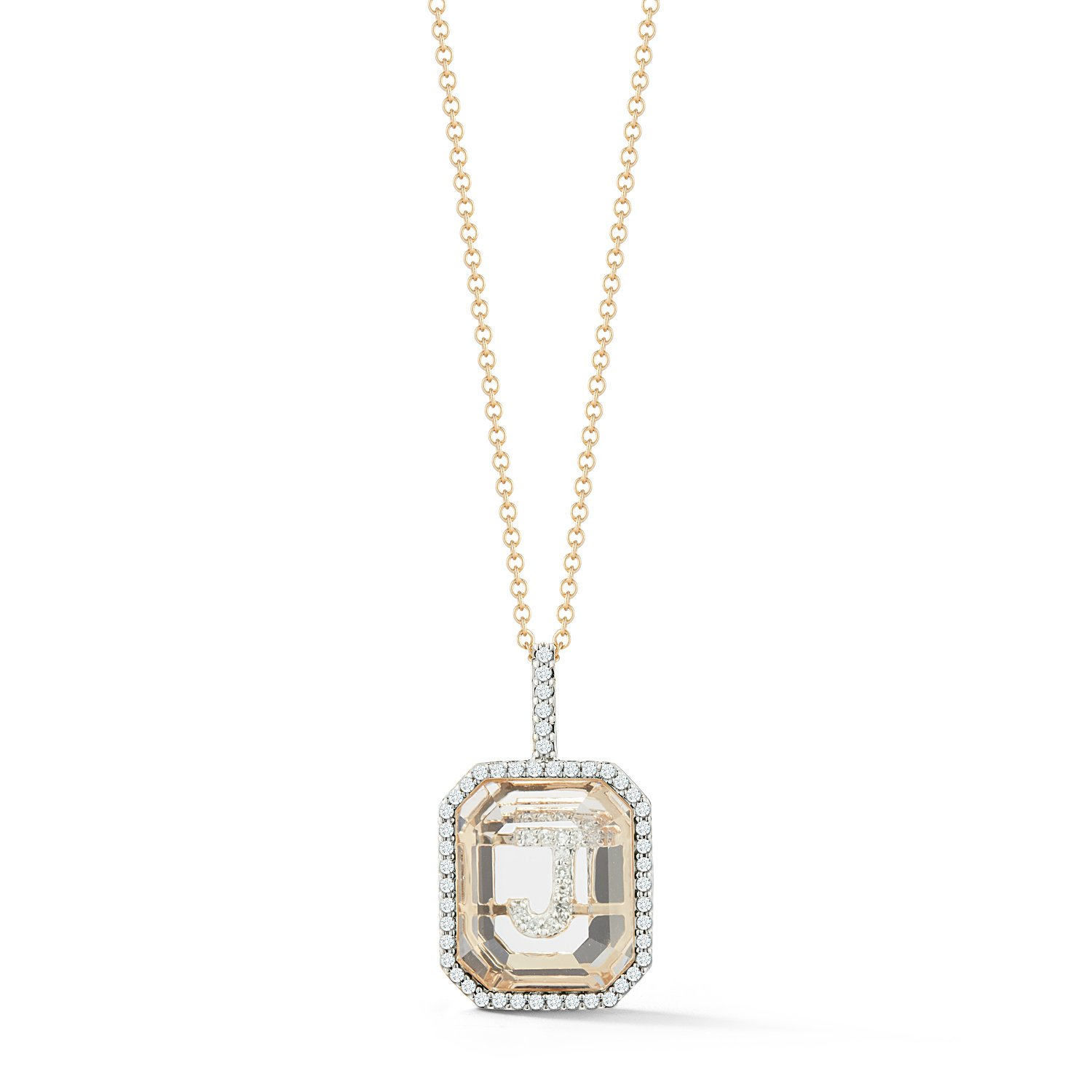 14kt Gold Diamond Frame Crystal Quartz Secret Diamond Initial necklace from Mateo New York
