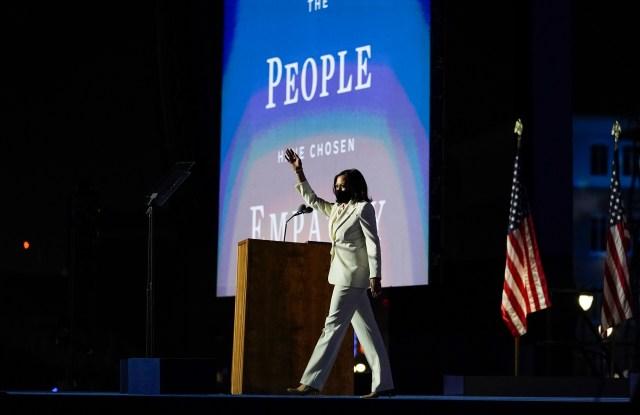 Vice President-elect Kamala Harris arrives to speaks Saturday, Nov. 7, 2020, in Wilmington, Del. (AP Photo/Carolyn Kaster)