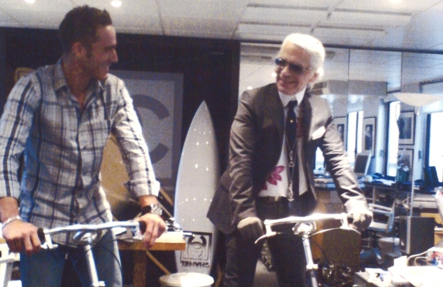 Sébastien Jondeau and Karl Lagerfeld try out newfangled scooters.