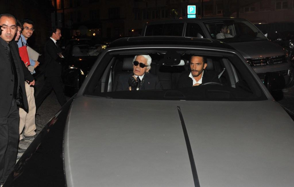 Karl Lagerfeld and Sébastien Jondeau in the Rolls-Royce Phantom VIII.