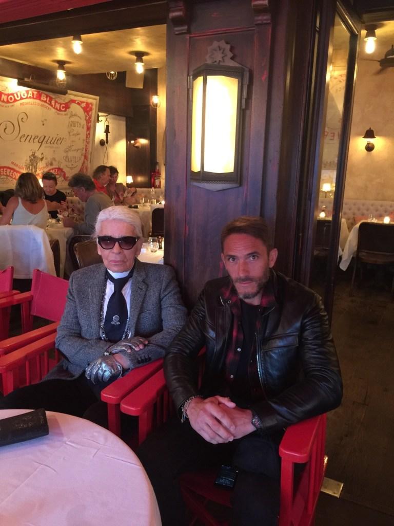 Sébastien Jondeau and Karl Lagerfeld at Le Sénéquier in Saint-Tropez.