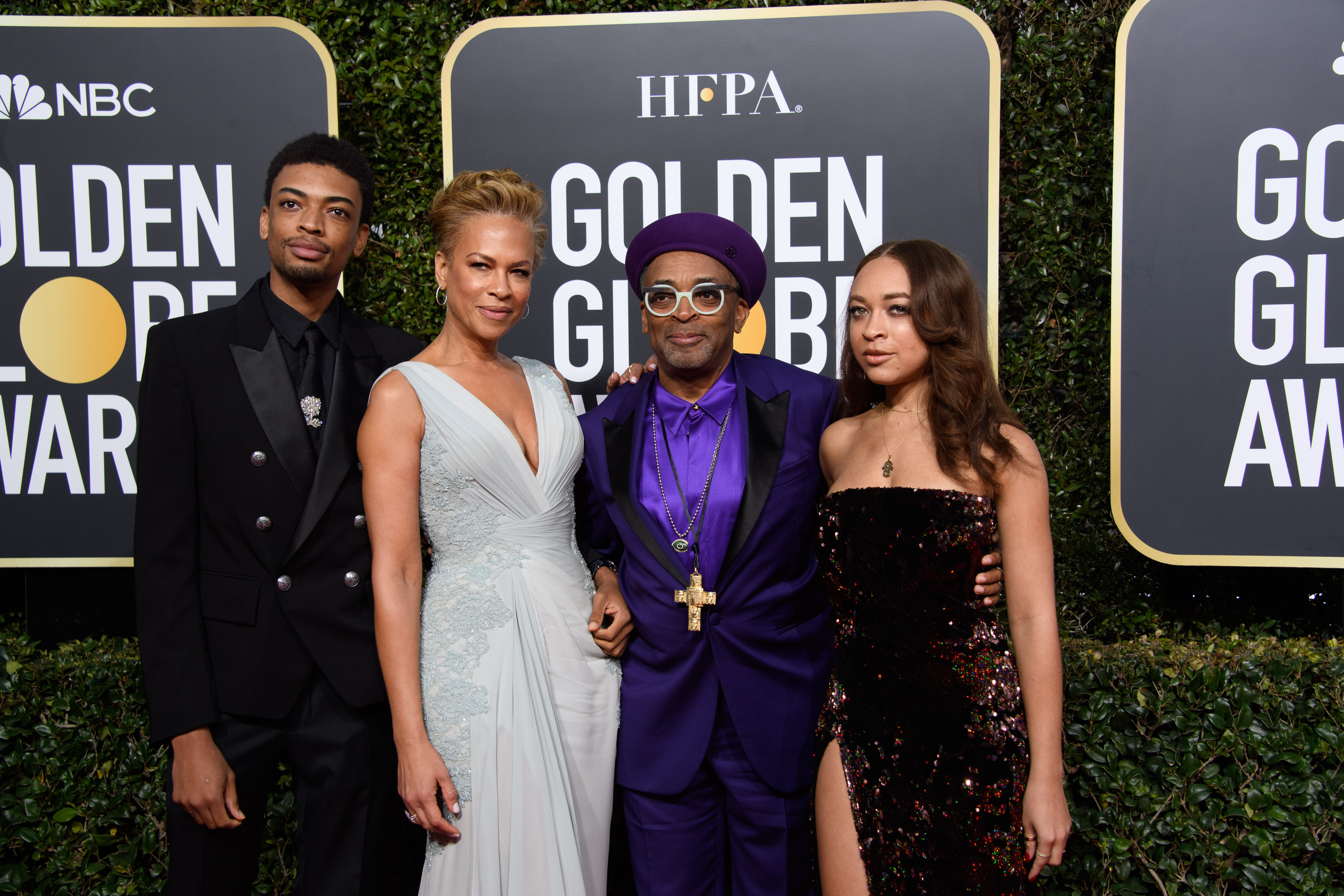 Jackson Lee, Tonya Lewis Lee, Golden Globe nominee, Spike Lee, and Satchel Lee arrive at the 76th Annual Golden Globe Awards at the Beverly Hilton in Beverly Hills, CA on Sunday, January 6, 2019.