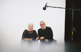 Line Renaud and Jean Paul Gaultier on the set