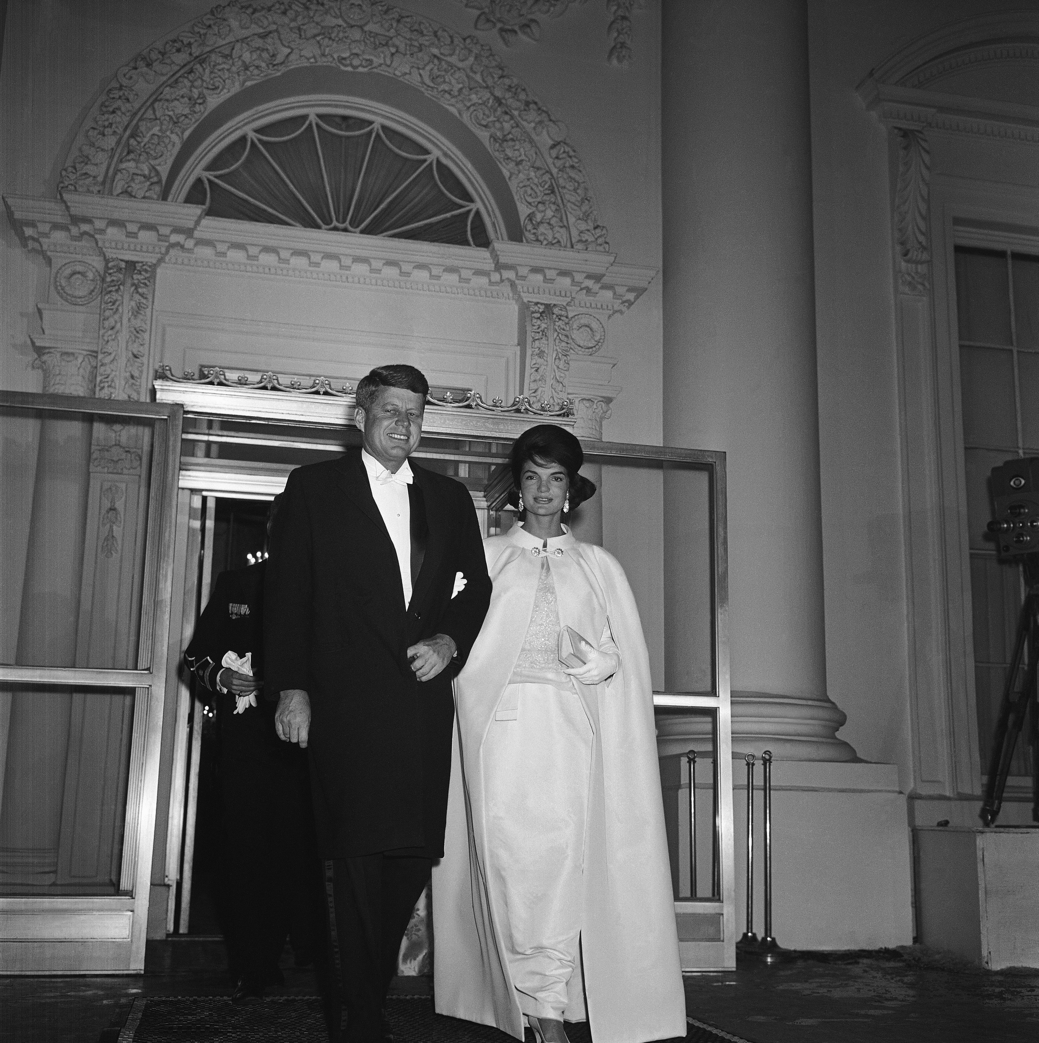 President and Mrs. John Kennedy leave the White House January 20, 1961 for a tour of inaugural balls.