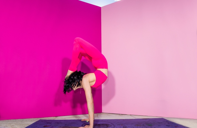 Stacey Bendet in a yoga pose.