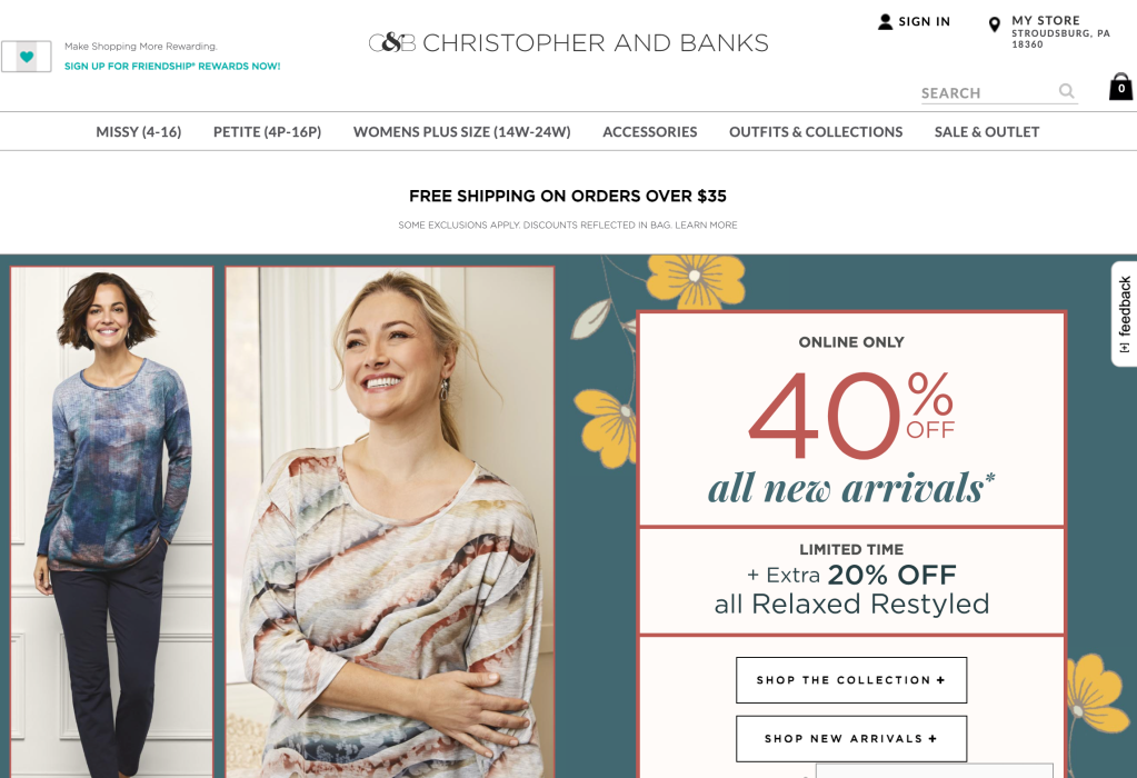 the christopher and banks web site