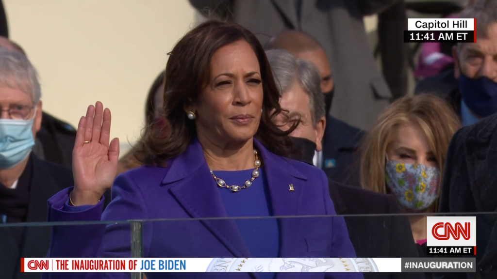 Kamala Harris being sworn in as Vice President, in a pearl necklace by Wilfredo Rosado.
