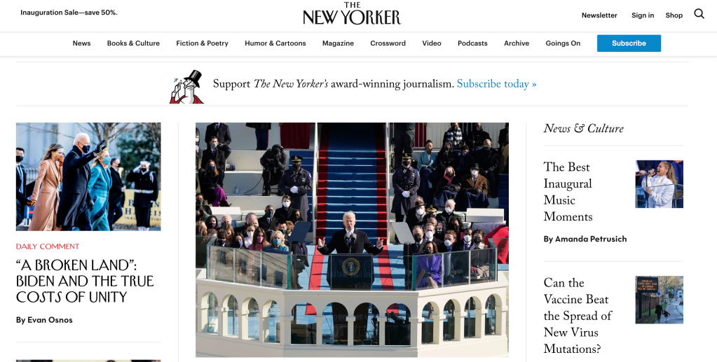 The New Yorker homepage.