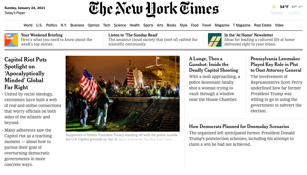 The New York Times Homepage