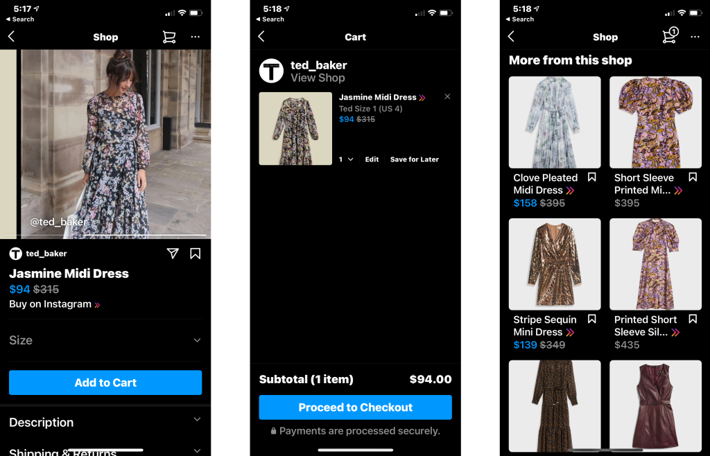 Shoppers can now buy from Ted Baker through Instagram Checkout.
